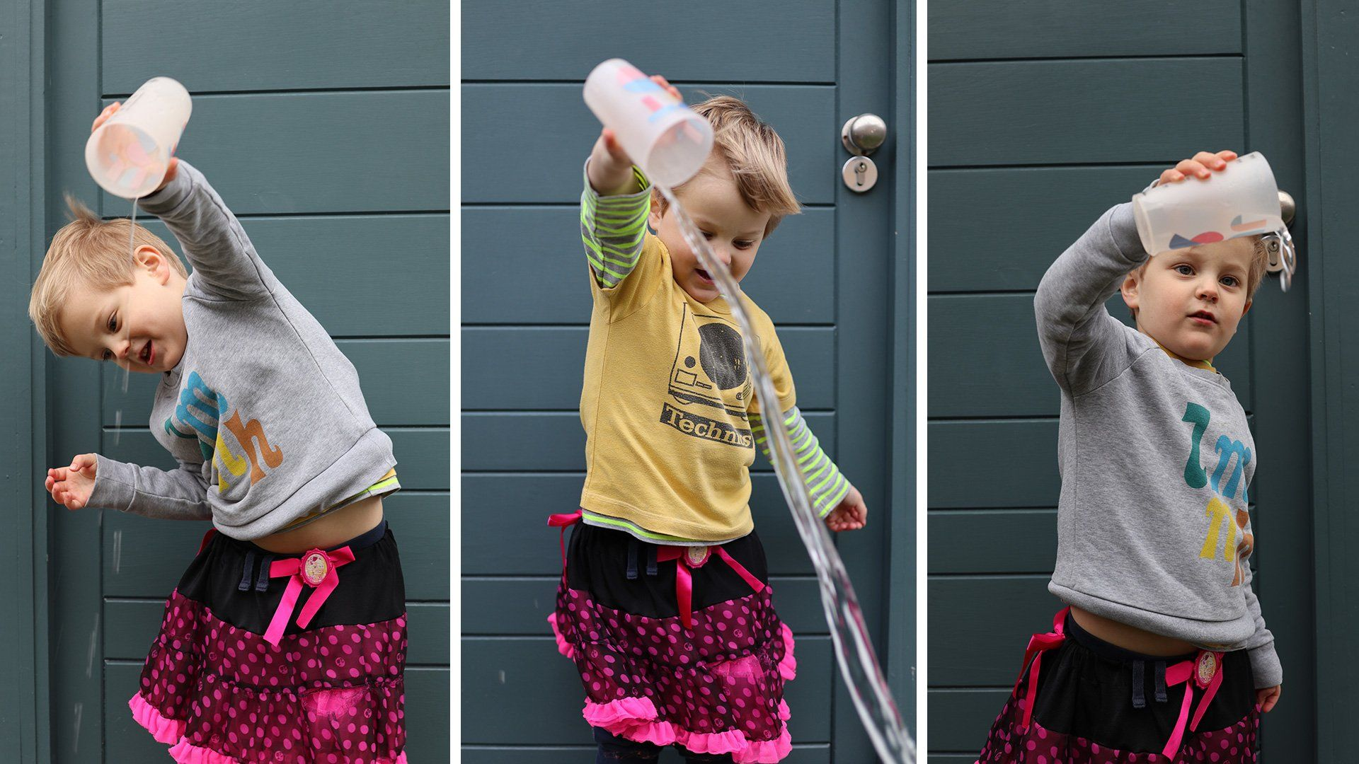 Three pictures show a young boy playing with a cup of water. Taken on a Canon EOS M50 by Katja Gaskell.